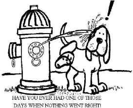 Cartoon picture of a fire hydrant peeing on a dog.