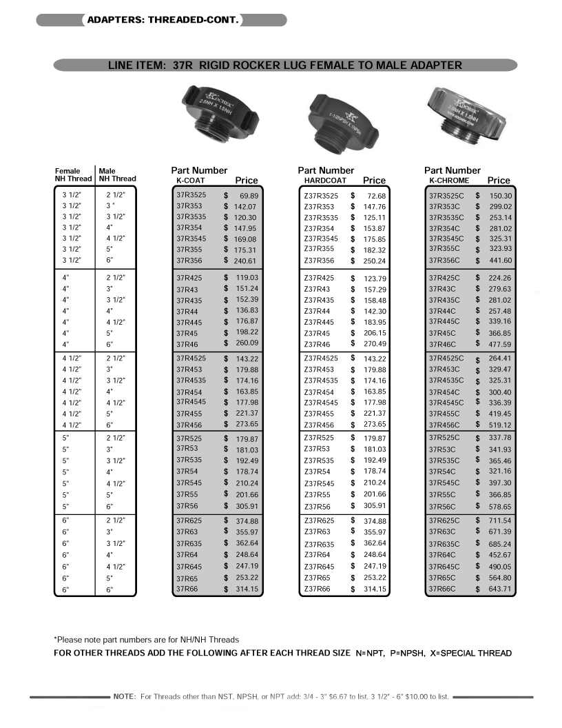 Picture of price page for rigid rocker lug female to male adapters