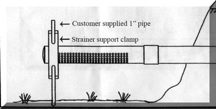 Illustration of a dry hydrant strainer support clamp.